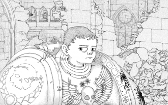 A pen & ink style digital drawing of a young-looking boy wearing oversized battle armor, similar to space marine armor from the tabletop game Warhammer 40,000.