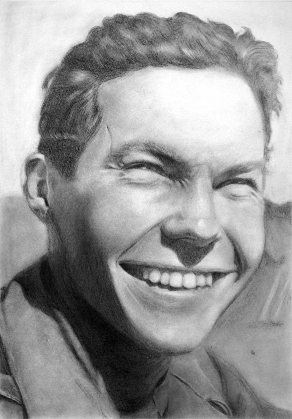 A realistic graphite rendering of the artist's grandfather as a young man, smiling.