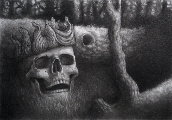 A charcoal drawing of a gloomy glade, with a skull wearing a wooden crown in the middle foreground.